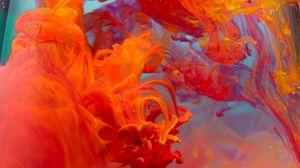 Preview wallpaper paint, liquid, clots, red, orange