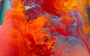 Preview wallpaper paint, liquid, clots, red, orange
