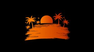 Preview wallpaper palm, sunset, vector, art, sun