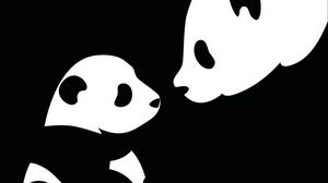 Preview wallpaper panda, drawing, black, white
