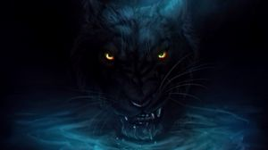 Preview wallpaper panther, grin, big cat, black, water