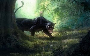 Preview wallpaper panther, grin, big cat, predator, art