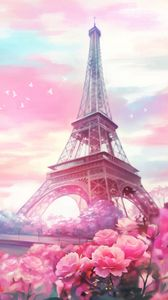 Preview wallpaper paris, flowers, tower, art