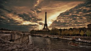 Preview wallpaper paris, promenade, eiffel tower, hdr