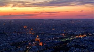 Preview wallpaper paris, top view, panorama, city, sky, sunset