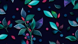 Preview wallpaper pattern, branches, leaves, berries, colorful