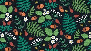 Preview wallpaper pattern, forest, motif, leaves, berries, acorns, strawberries
