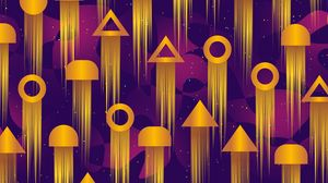 Preview wallpaper pattern, geometric shapes, geometric, bright, circles, triangles, rockets