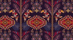 Preview wallpaper pattern, ornament, motive, toucans, colorful