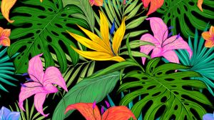 Preview wallpaper pattern, tropical, flowers, leaves, lilies, palm leaves, colored