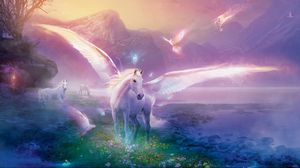 Preview wallpaper pegasus, horse, magic, flowers