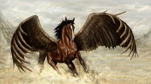 Preview wallpaper pegasus, horse, wings, sand