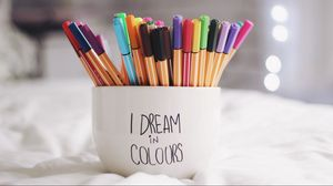 Preview wallpaper pen, cup, dreams, colorful