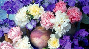 Preview wallpaper peonies, hydrangea, flowers, painting, jugs, flower, beauty