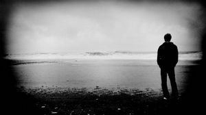 Preview wallpaper people, shore, solitude, reflection, black and white