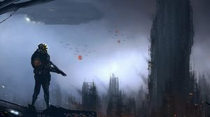 Preview wallpaper people, weapons, city, skyscrapers, ship