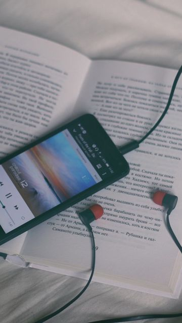 360x640 Wallpaper phone, headphones, book