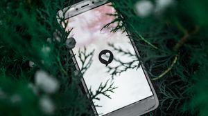 Preview wallpaper phone, screen, heart, symbol, plant, branches