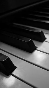 Preview wallpaper piano, keys, musical instrument, macro, bw