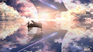 Preview wallpaper piano, silhouette, space, illusion, anime