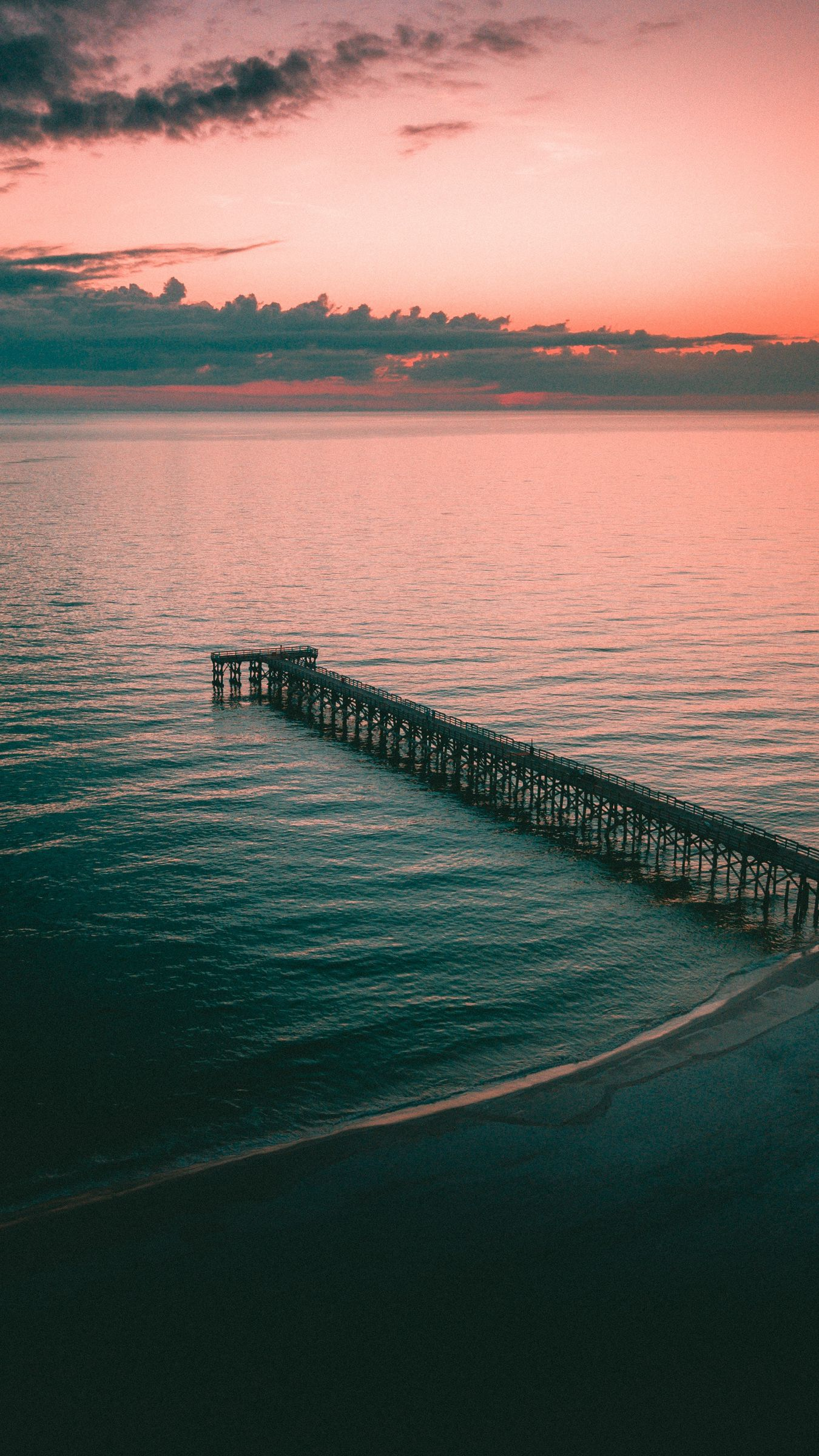 1350x2400 Wallpaper pier, dock, sea, dusk, shore