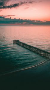 Preview wallpaper pier, dock, sea, dusk, shore