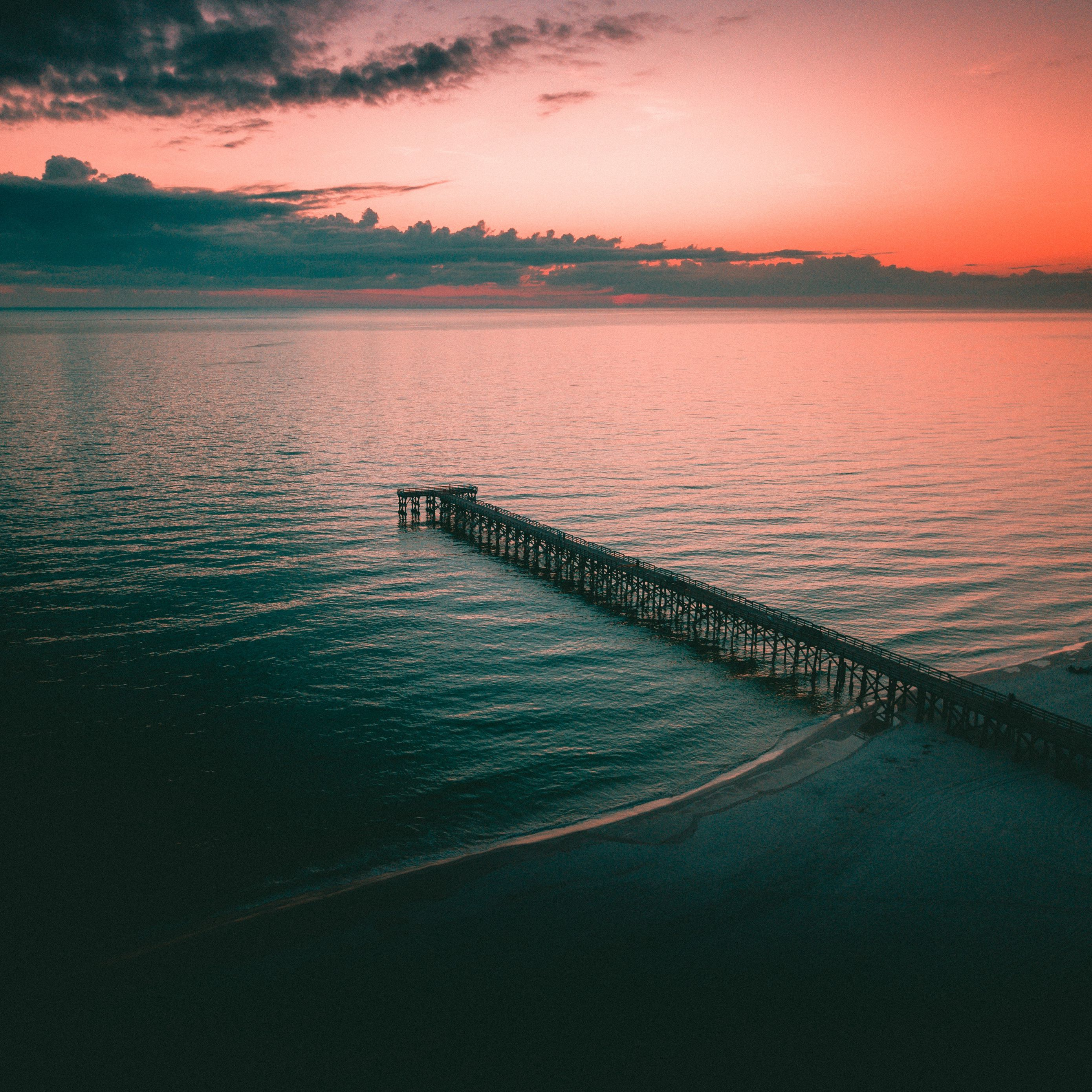 2780x2780 Wallpaper pier, dock, sea, dusk, shore