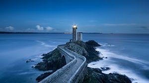 Preview wallpaper pier, lighthouse, sea, horizon, rocks