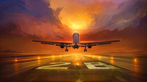 Preview wallpaper plane, runway, art, sunset, sky