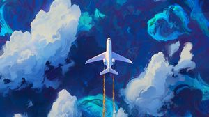 Preview wallpaper plane, sky, art, flight, clouds