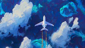 Preview wallpaper plane, sky, art, flight, clouds