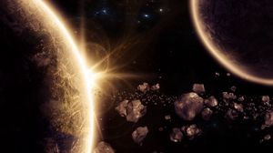 Preview wallpaper planet, asteroids, glow, space, 3d