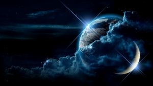Preview wallpaper planet, clouds, light, star