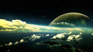 Preview wallpaper planet, clouds, sky, islands, water
