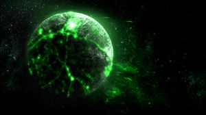 Preview wallpaper planet, green, glow, bright, space
