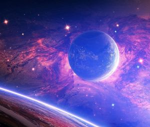 Preview wallpaper planet, light, spots, space