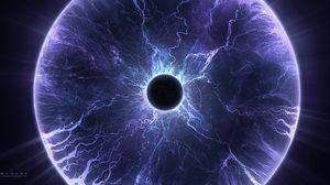 Preview wallpaper planet, lightning, eclipse, halo, glow, purple
