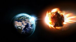 Preview wallpaper planet, meteor, asteroid, comet, blast, space