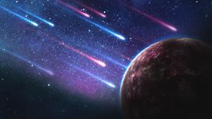 Preview wallpaper planet, meteorites, space, galaxy