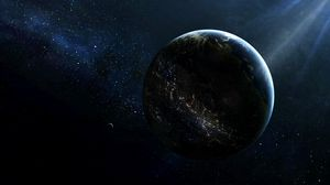 Preview wallpaper planet, satellite, lighting, light