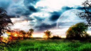 Preview wallpaper planet, sky, trees, field, grass
