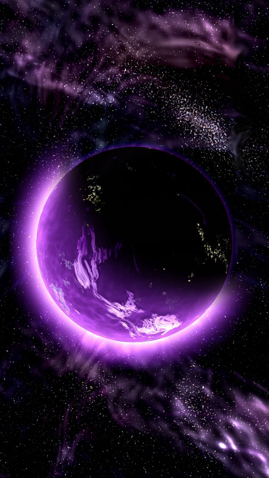 938x1668 Wallpaper planet, space, universe, galaxy, purple