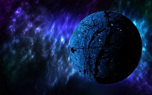 Preview wallpaper planet, space, universe, galaxy, blue