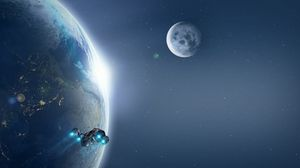 Preview wallpaper planet, spaceship, lights, cosmos, universe