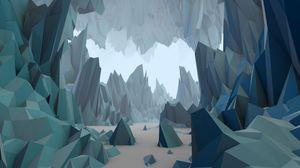 Preview wallpaper polygon, low poly, art, mountains, sand