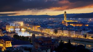 Preview wallpaper ponte vecchio, florence, italy, buildings, river, lights city