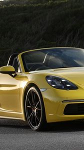 Preview wallpaper porsche, 718, boxster, convertible, yellow