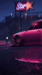 Preview wallpaper porsche 911 carrera rsr, porsche, sports car, old, tuning, night, neon