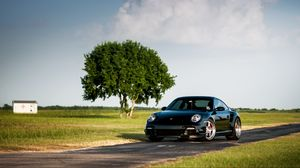 Preview wallpaper porsche, 911, turbo, 997, black, front, tree, sky