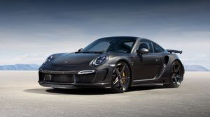Preview wallpaper porsche, 911, turbo, gtr, carbon edition, 991, black